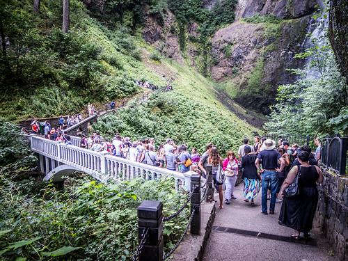 Crowded Bridge at Multnomah Falls