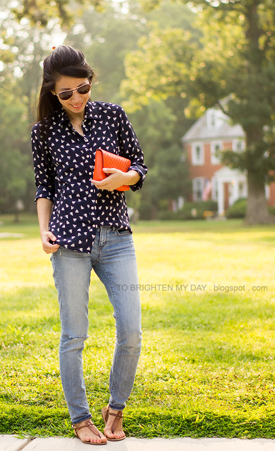 patterned silk top, orange clutch, brown sandals