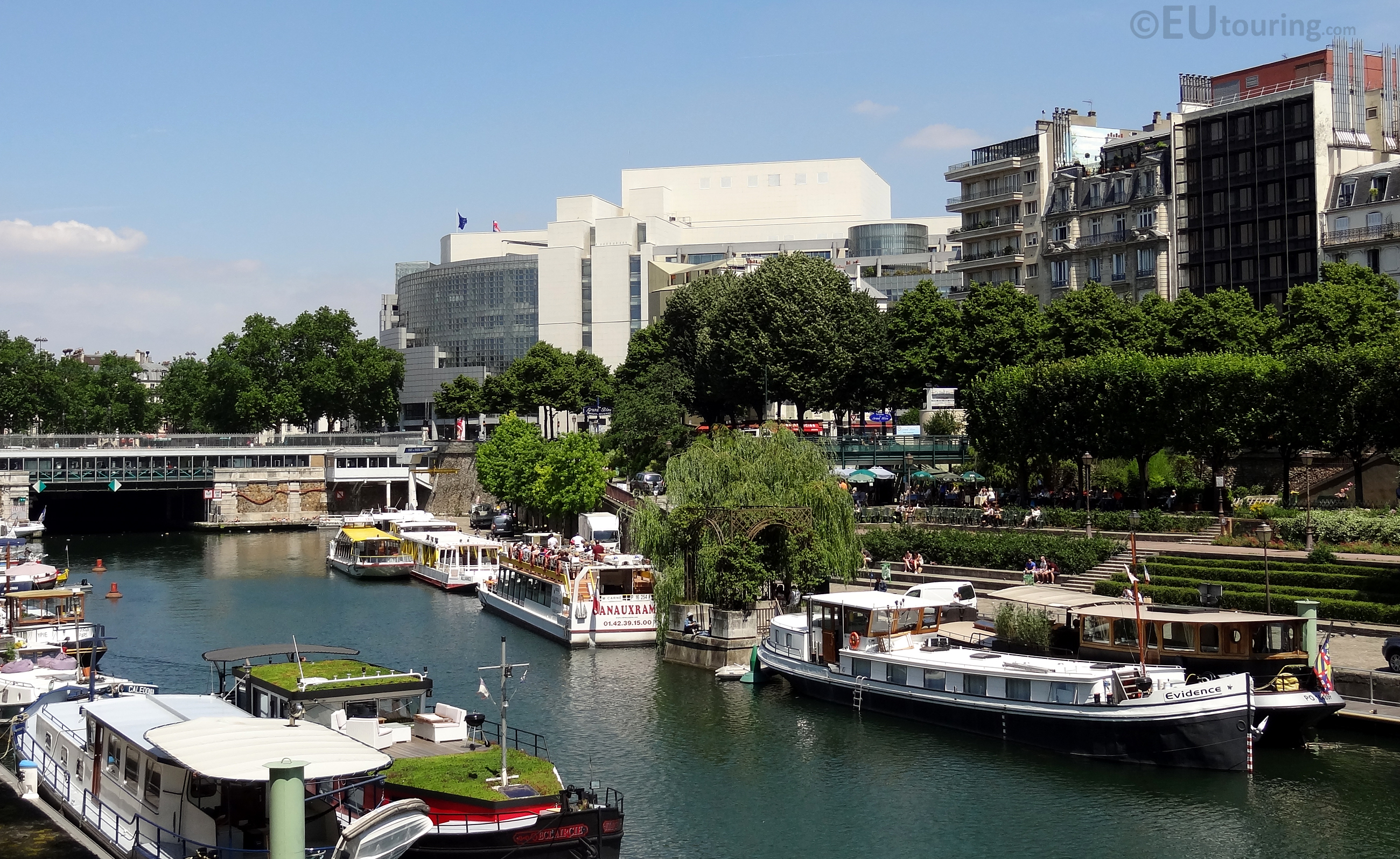 Boats and buildings at Canal Saint Martin