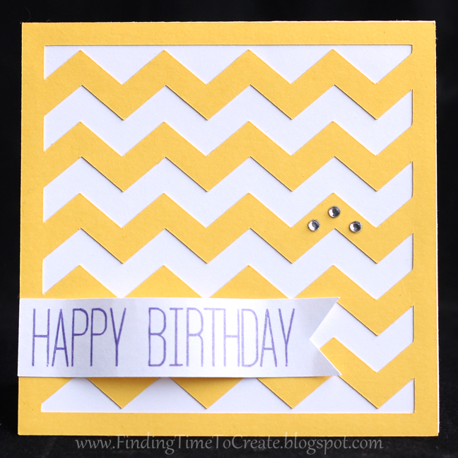 Chevron Birthday Card - yellow