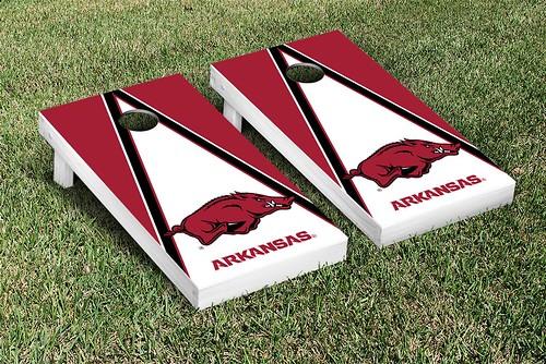 Arkansas Razorbacks Cornhole Game Set Banner Triangle Version