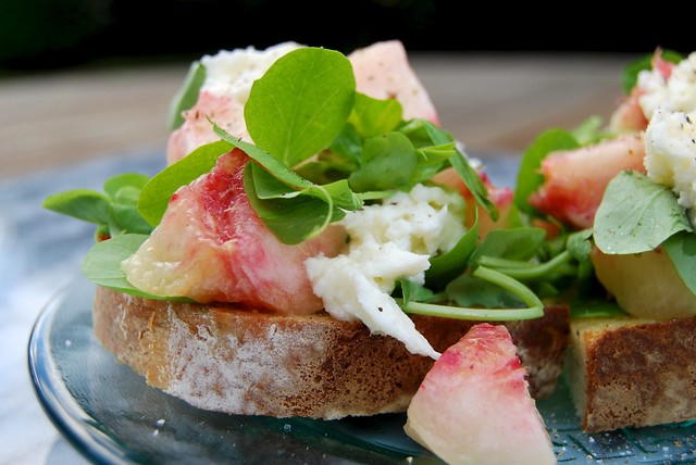 London's Polpo inspired White Peach, Mozzarella & Pea Shoot Bruschetta