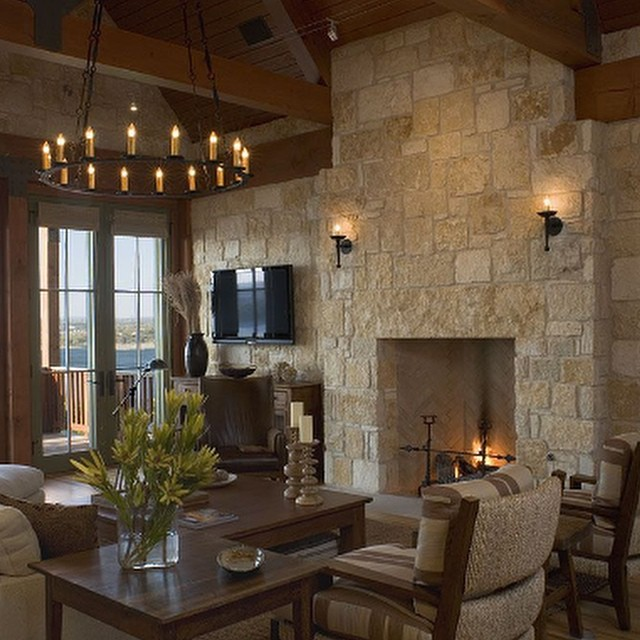 Texas regional styled fireplace with Austin Stone for Lake Travis residence