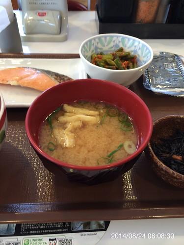 すき家の朝定食 鮭定食+にんにくの芽