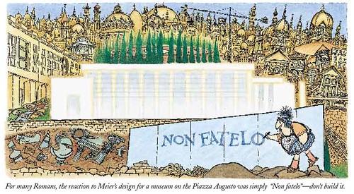 """ROMA ARCHEOLOGIA  e RESTAURO ARCHITETTURA: l' ex sindico Rutelli - """"Siamo prigionieri della retorica Mussoliniana, LA STAMPA (19 08 2014), p. 11 & Ma, Meier 'Ara Pacis,' = Roma: """"Non Fatelo!"""", Rutelli: """"Si."""" (2005)."""