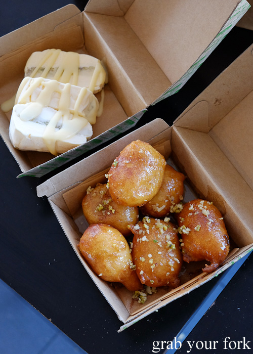 Loukoumades donuts and baklava ice cream dessert at Kefi Souvlaki Bar, Kingsgrove
