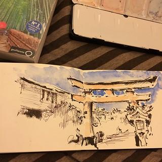#japon #pentel #bolígrafo #inari #kyoto #watercolor