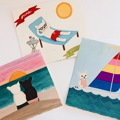 There's a hint of fall in the breeze outside, but summer's in full swing in the studio today! #summer #studioscenes #painting #illustration #art #2015calendar #frenchbulldog #frenchie #frogdog #buhi #sailing #sunset #sunbathing #lizlangley #henrihopper