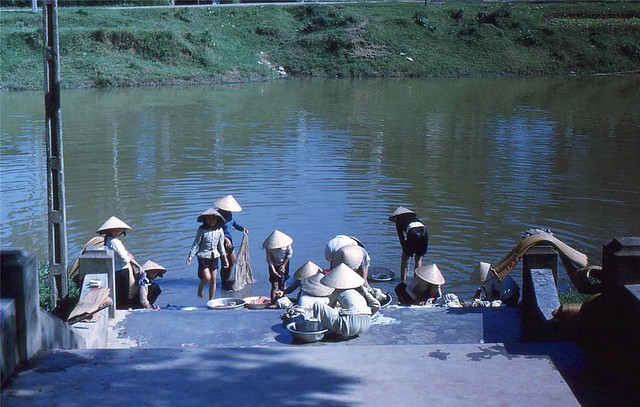 1963 - Vietnamese Woman Do Laundry in Hue Canal
