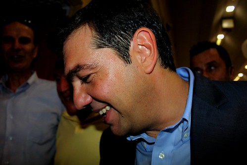 Alexis Tsipras, leader of the Greece's largest opposition party, SYRIZA leaving key note speech