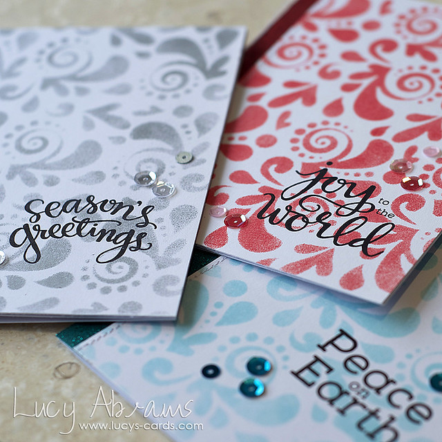 Stencilled Christmas Card Set 4 by Lucy Abrams
