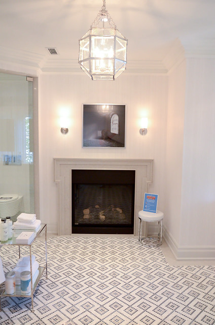 Grand white Master bathroom.Princess Margaret Showhome in Oakville