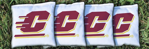 CENTRAL MICHIGAN WHITE CORNHOLE BAGS