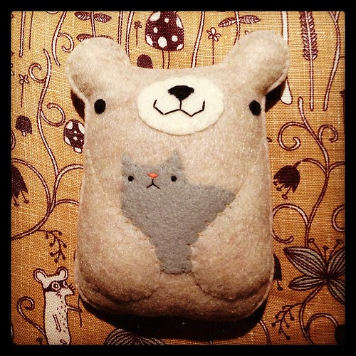 Pudgy bear with a cat. #migrationgoods #handmade #plush #bear #kitteh