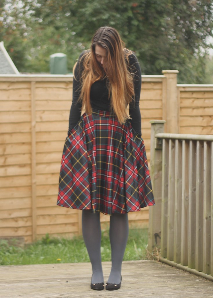 Tartan skirt with tights