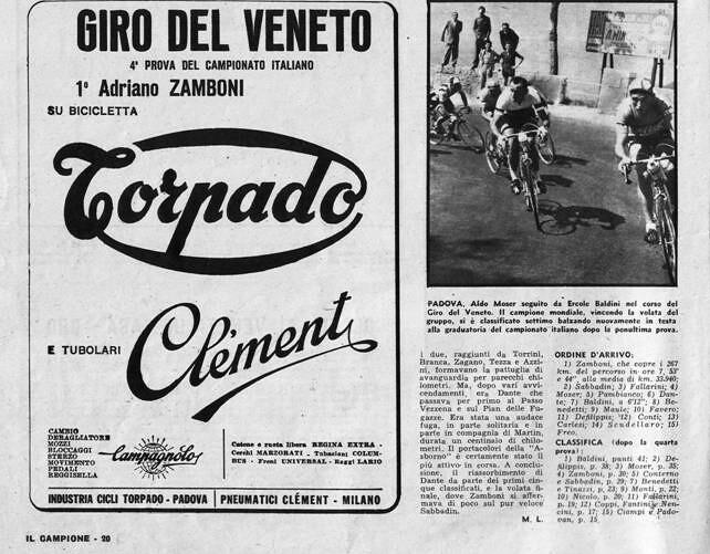 La vittoria di Zamboni nel Giro del Veneto 1958