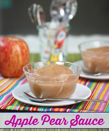 Kids will love this healthy, sugar-free Apple Pear Sauce snack via Meal Makeover Moms' Kitchen