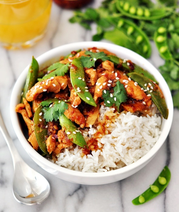 Sambal Chicken Stir-Fry with Sugar Snap Peas | www.fussfreecooking.com