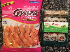 Gyoza and Okami sushi for dinner.  Seafood and veg…