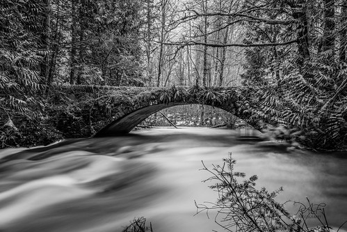 millbay millbaybc malahat cowichanvalley cowichan cobblehill vancouverisland bc britishcolumbia blackandwhite bw canada stone stonework stonebridge bridge water rural rocks river tree trees wintermelt winter longexposure longexposures serenity landscape