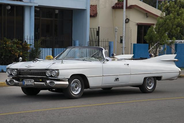 1959 White Cadillac Eldorado Convertible Taxi. Varadero, Cuba