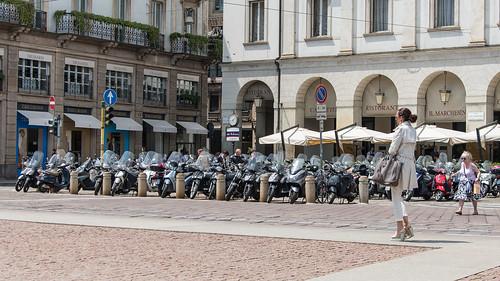 Walking along the via Santa Margherita at Milan