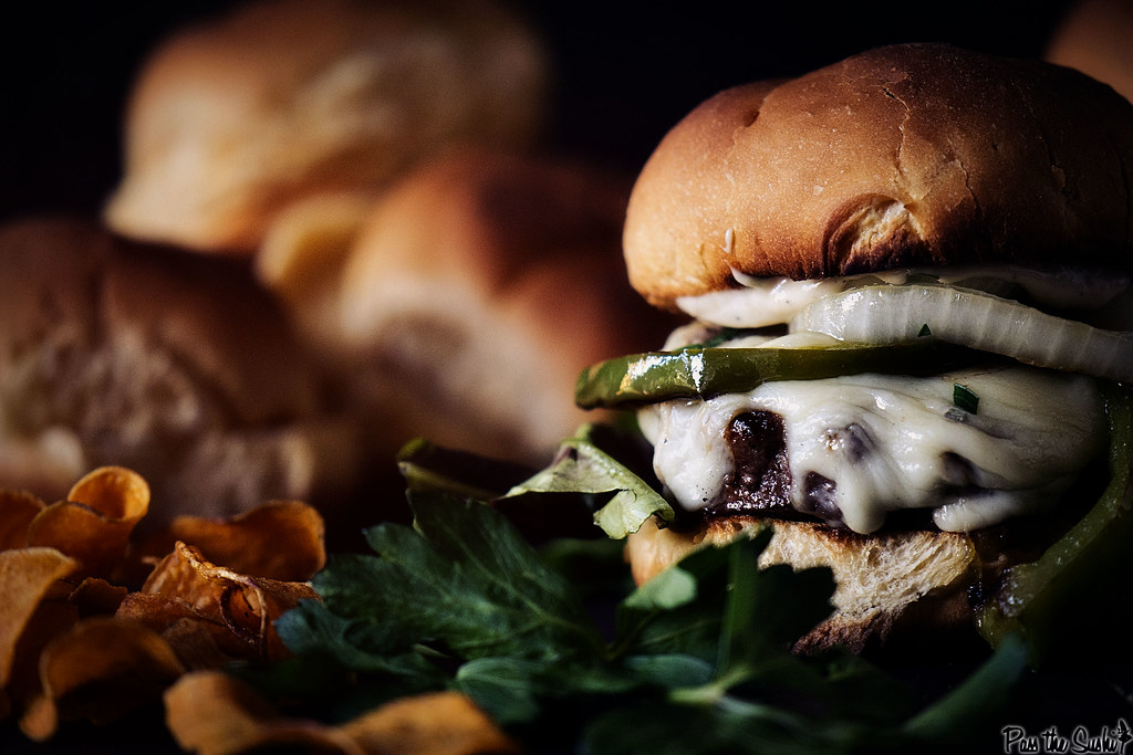 Philly Cheesesteak Burger Recipe with Roasted Garlic Aioli | GirlCarnivore.com