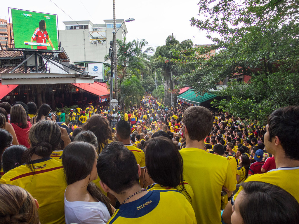 Thousands of people packed Parque Lleras and the surrounding bars and restaurants for what became a contentious match with Brazil