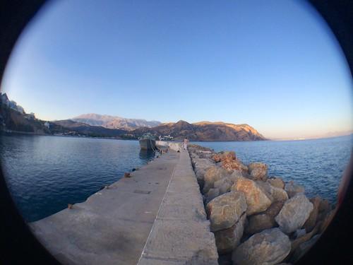 sea summer hot history beautiful boats landscapes amazing holidays fisheye greece views crete mediterraneansea fisheyelens agiagalini kriti agiairini iphone5sbackcamera412mmf22