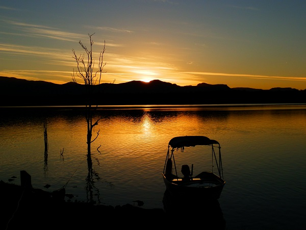 Boat at Sunset, Lake Moogerah, Scenic Rim