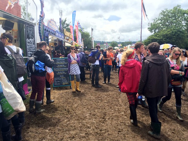 Food stalls by the Pyramid stage