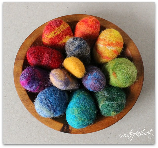 colorful felted rocks by Regina Lord