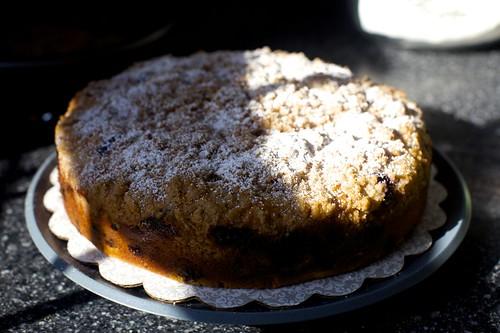blueberry cake in crazy morning light