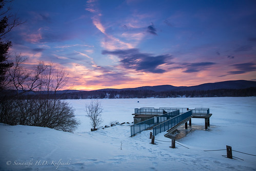 pink winter sunset sky lake colors frozen massachusetts berkshires pittsfield onota