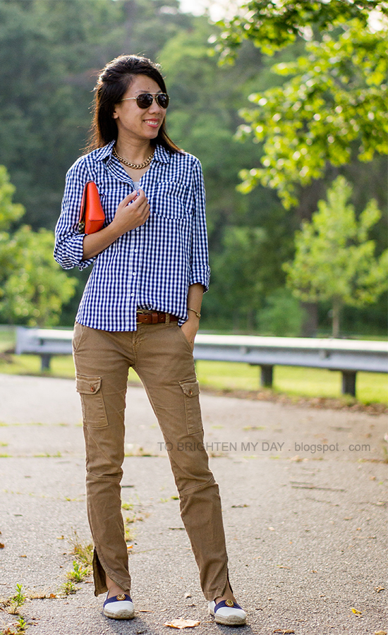 navy gingham shirt, orange clutch, cargo pants, espadrilles