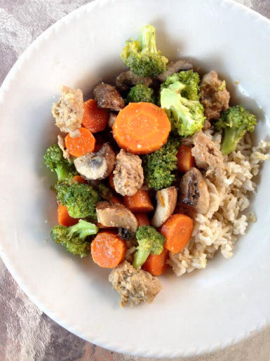 Steamed vegetables with sausage and brown rice