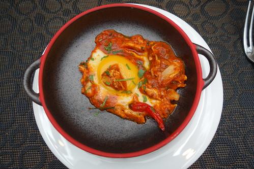 Eggs cooked in Spicy Tomato Sauce & Fresh Herbs - Burlamacco Ristorante
