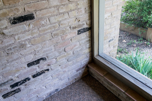 rough brick, simple wooden assemblies, tile sills!!University Lutheran Center, Austin