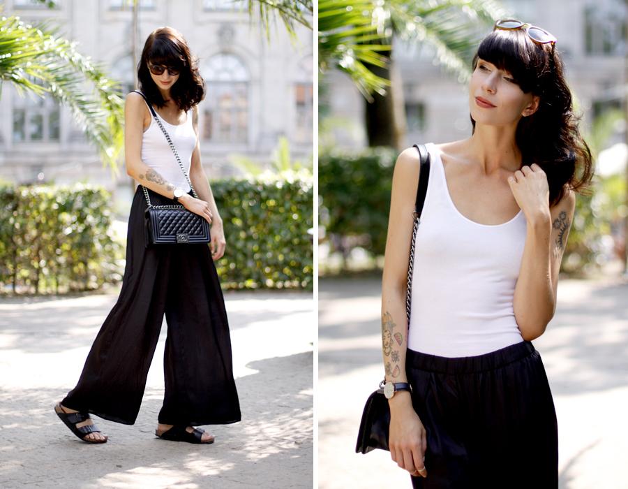 Ripped top black silk pants summer palm holidays chanel le boy boybag outfit daniel wellington gucci fashionblogger Ricarda Schernus CATS & DOGS 5