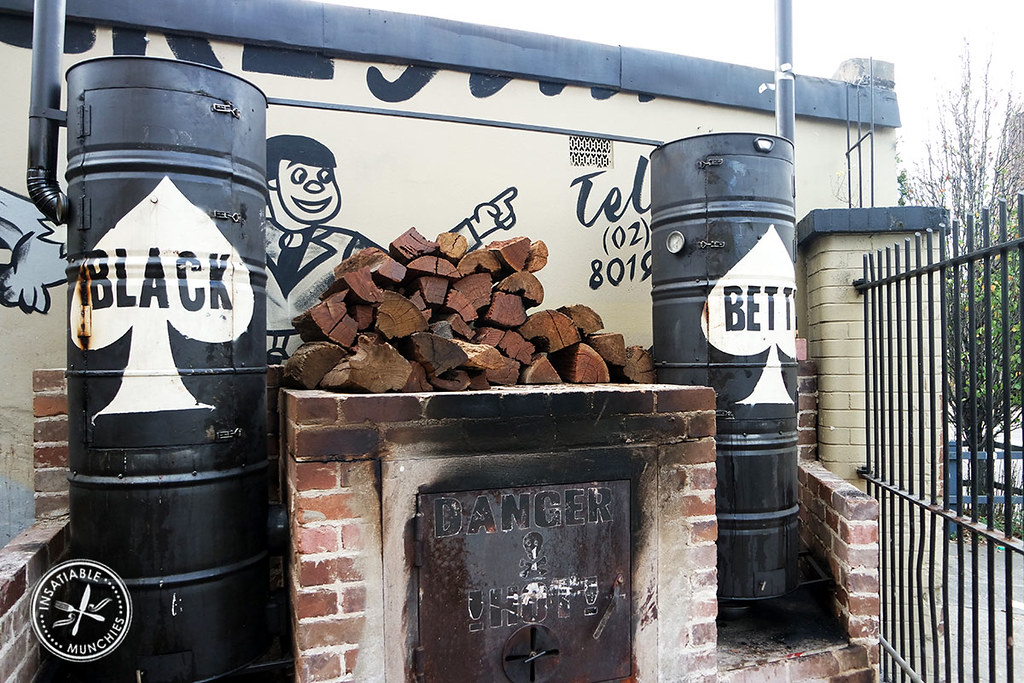 The barbecue and smoker of the Oxford Tavern, affectionately named Black Betty stands proud near the back gates.