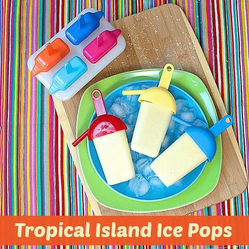 Tropical Island Ice Pops via MealMakeoverMoms.com/kitchen