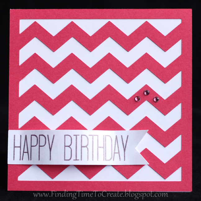 Chevron Birthday Card - red