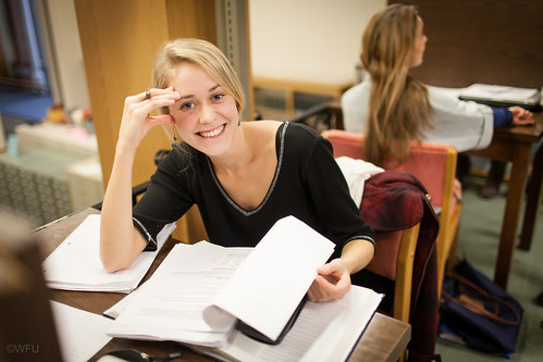 A student studying at ZSR
