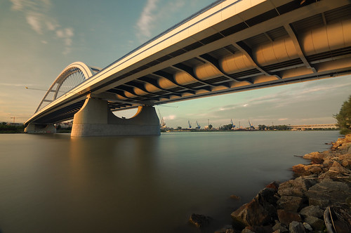 city longexposure bridge light sunset sky sun water clouds port river twilight republic riverside dusk capital wideangle le rays moment bratislava slovak snp dunaj
