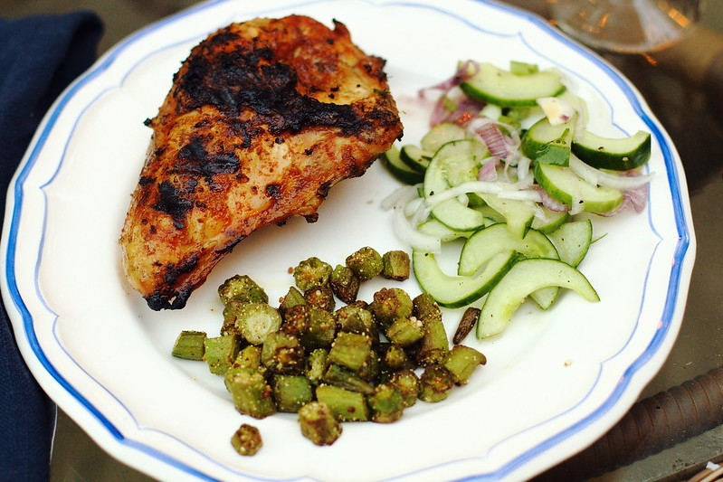 Sunday Dinner: BBQ Chicken, Cucumber Salad, and Fried Okra