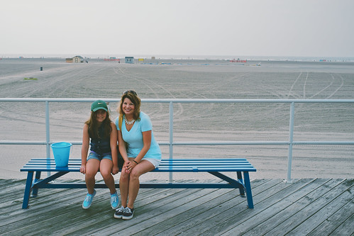 Sitting on the Wildwood boardwalk.
