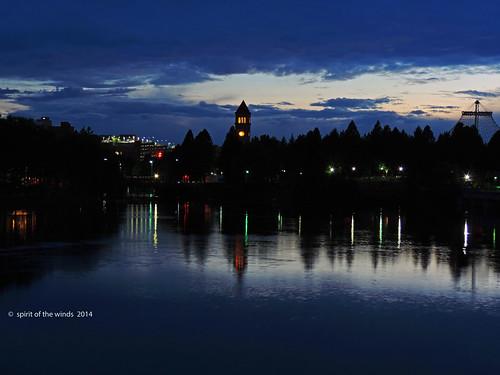 pavilion nightshots riverfrontpark the theclocktower spokanewashingtonstate thespokaneriver