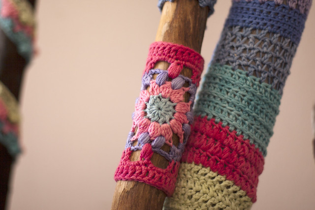 Robyn's yarn bombed sticks
