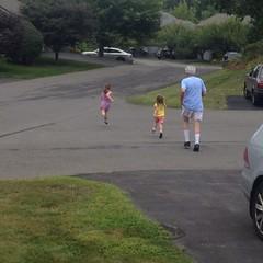 PopPop has them running laps. In their pajamas. Yay! #goof