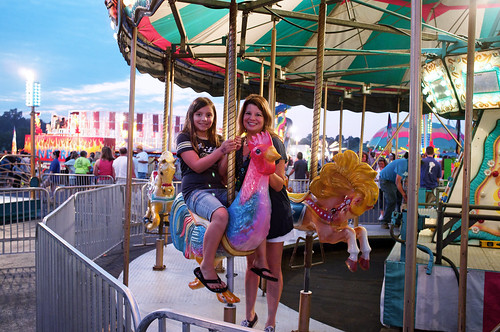Riding the blue chicken is the hightlight of the fair.